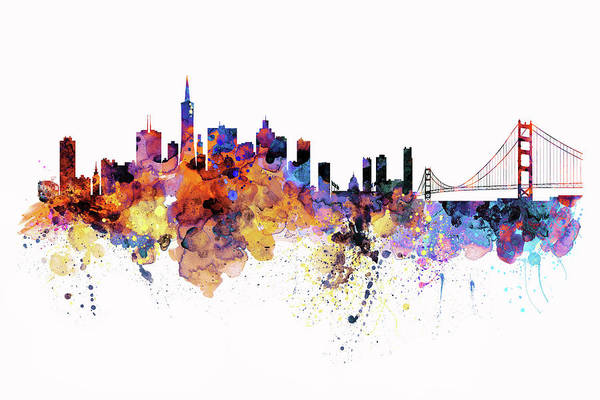 Aquarelle Painting - San Francisco Watercolor Skyline by Marian Voicu