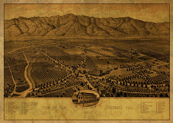 Wall Art - Mixed Media - San Gabriel California Vintage City Street Map 1893 by Design Turnpike