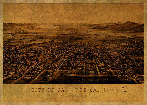Wall Art - Mixed Media - San Jose California Vintage City Street Map 1875 by Design Turnpike