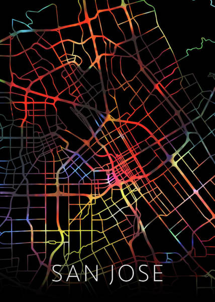 Wall Art - Mixed Media - San Jose California Watercolor City Street Map Dark Mode by Design Turnpike