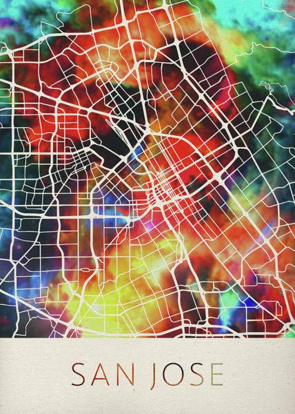 Wall Art - Mixed Media - San Jose California Watercolor City Street Map by Design Turnpike