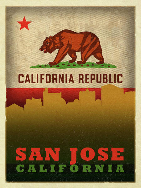 Wall Art - Mixed Media - San Jose City Skyline State Flag Of California by Design Turnpike