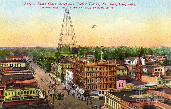 Photograph - San Jose Electric Light Tower, California 1881-1915 by California Views Archives Mr Pat Hathaway Archives