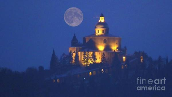 Photograph - San Luca Church With Red Moon by Benny Marty
