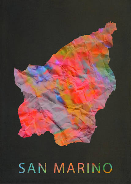 Wall Art - Mixed Media - San Marino Tie Dye Country Map by Design Turnpike
