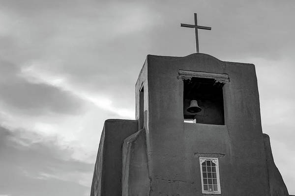 Photograph - San Miguel Mission Chapel - Santa Fe New Mexico In Monochrome by Gregory Ballos