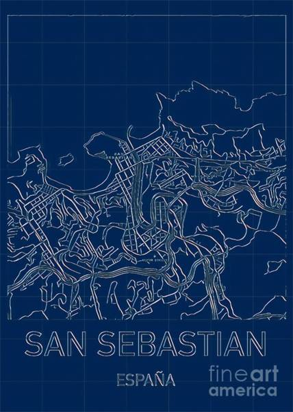 Digital Art - San Sebastian Blueprint City Map by Helge