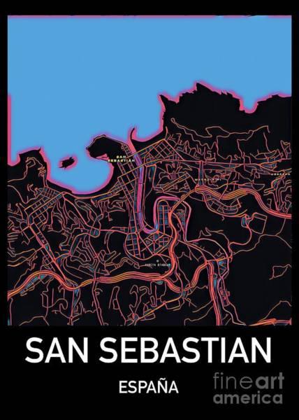 Digital Art - San Sebastian City Map by Helge