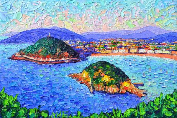 Painting - San Sebastian Spain Modern Impressionism Textural Impasto Knife Oil Painting By Ana Maria Edulescu by Ana Maria Edulescu