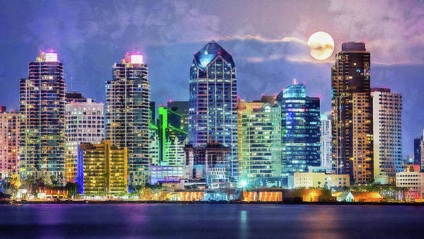 Painting - San Diego Skyline  by Andrea Mazzocchetti