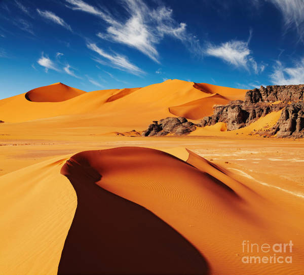 Wall Art - Photograph - Sand Dunes And Rocks, Sahara Desert by Dmitry Pichugin