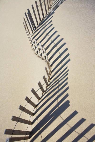 Shadow Photograph - Sand Fence, Nantucket Island by Nine Ok