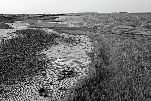 Photograph - Sand Patterns In Duxbury Beach Duxbury Ma Black And White by Toby McGuire