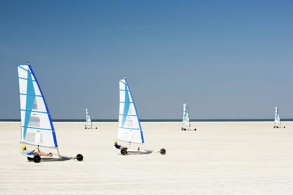 Extreme Sport Photograph - Sand Yachting On Beach by Jorg Greuel