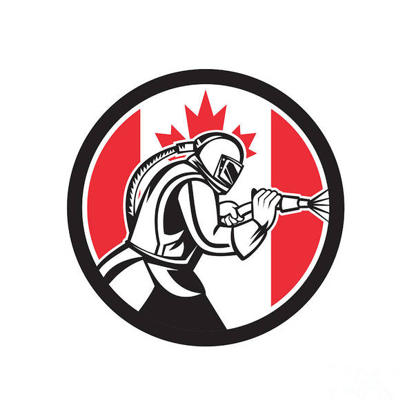 Wall Art - Digital Art - Sandblaster Abrasive Blasting Canada Flag Circle by Aloysius Patrimonio