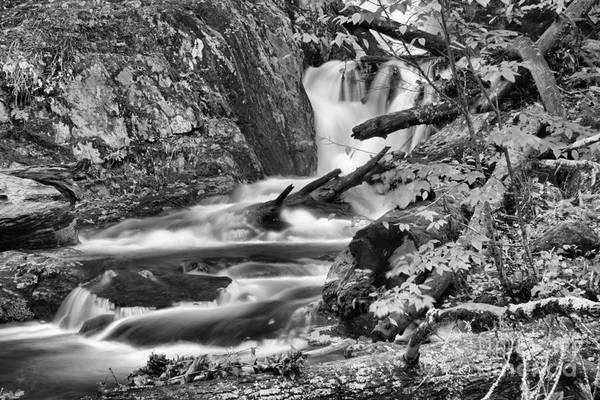 Photograph - Sanderson Brook Falls Casdades Black And White by Adam Jewell