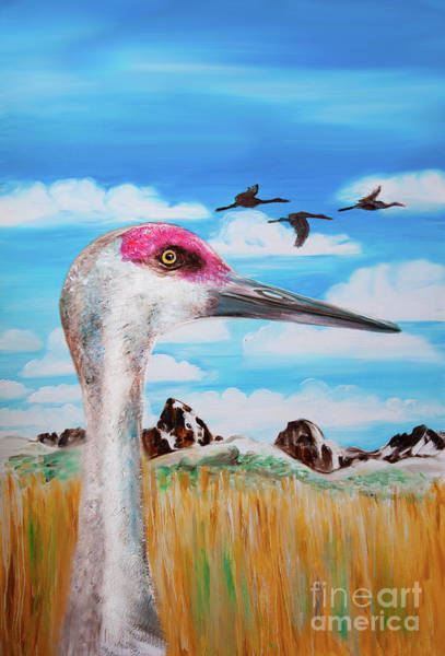 Painting - Sandhill Crane Teton View by Shelley Myers
