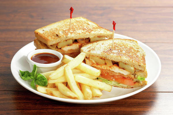 Wall Art - Photograph - Sandwich And Fries by Foodad / Multi-bits