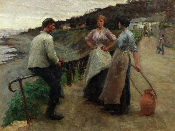Newlyn Painting - Sandy Bay by Harold Harvey
