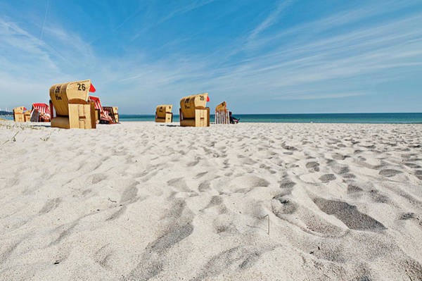 Wall Art - Photograph - Sandy Beach With Hooded Beach Chairs by Arnt Haug / Look-foto