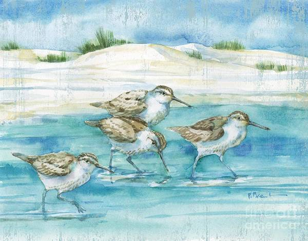 Wall Art - Painting - Sandy Sandpipers I by Paul Brent