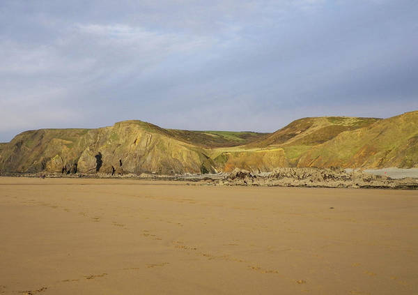 Wall Art - Photograph - Sandymouth Beach North Cornwall In Winter by Richard Brookes