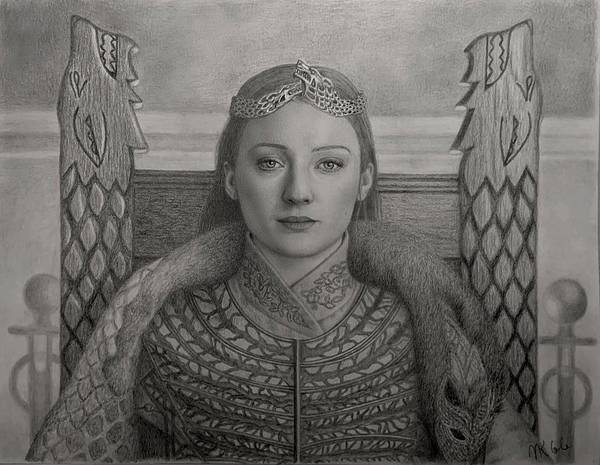 Drawing - Sansa Stark, Queen In The North by Vanessa Cole