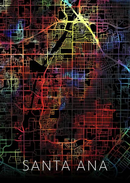 Santa Mixed Media - Santa Ana California Watercolor City Street Map Dark Mode by Design Turnpike