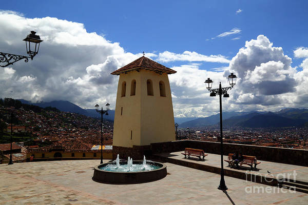 Photograph - Santa Ana Church Tower Cusco Peru by James Brunker