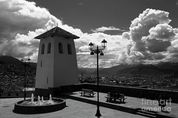 Wall Art - Photograph - Santa Ana Church Tower In Monochrome Cusco Peru by James Brunker