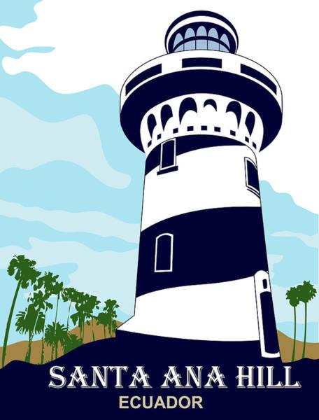Lighthouses Digital Art - Santa Ana Hill, Ecuador by Long Shot