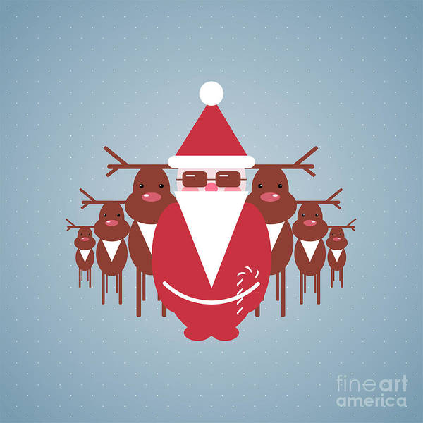 Reindeer Wall Art - Digital Art - Santa And His Reindeer Gang by Popmarleo