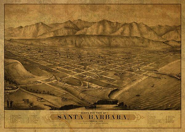 Santa Mixed Media - Santa Barbara California Vintage City Street Map 1875 by Design Turnpike