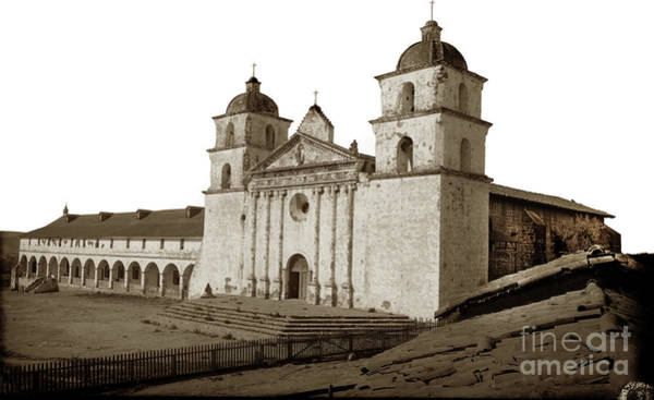 Photograph - Santa Barbara  Mission From The Roof Of Majordomo's Adobe Circa  by California Views Archives Mr Pat Hathaway Archives