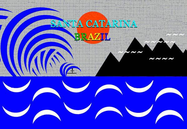 Wall Art - Digital Art - Santa Catarina, Brazil Surfing Art by David Lee Thompson