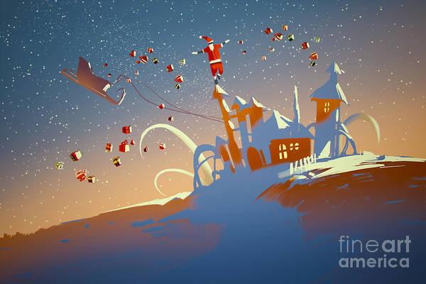 Festive Wall Art - Digital Art - Santa Claus Balancing On Fantasy by Tithi Luadthong