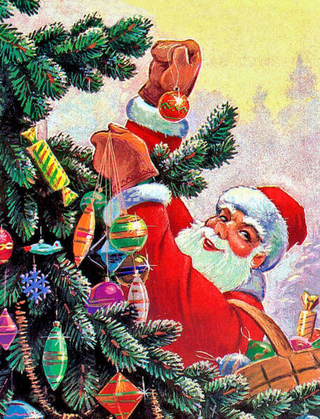 Christmas Celebration Digital Art - Santa Claus Decorate Christmas Tree by Long Shot