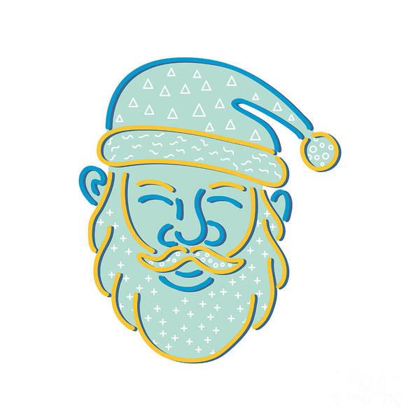 Wall Art - Digital Art - Santa Claus Head Memphis Style by Aloysius Patrimonio