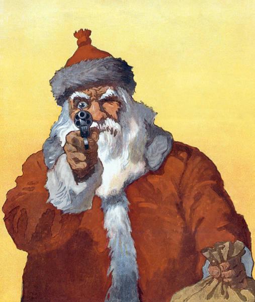 Danger Digital Art - Santa Claus Pointing A Gun by Graphicaartis