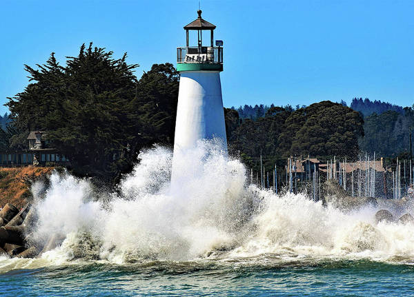 Photograph - Santa Cruz Lighthouse And Crashing Waves by Marilyn MacCrakin