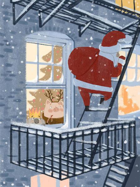 Trimming Painting - Santa by Ema Malyauka