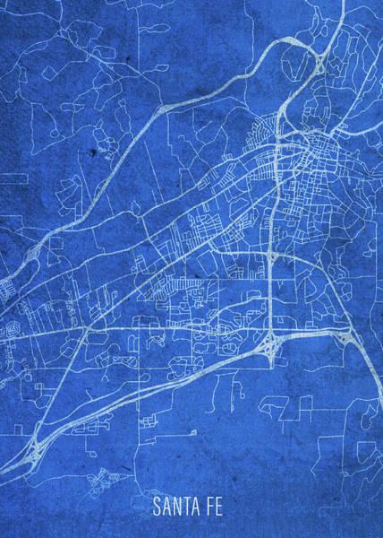 Santa Mixed Media - Santa Fe New Mexico City Street Map Blueprints by Design Turnpike