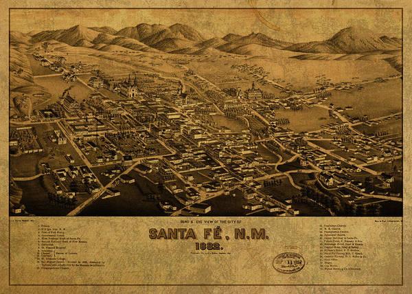 Santa Mixed Media - Santa Fe New Mexico Vintage City Street Map 1882 by Design Turnpike
