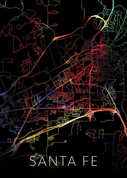 Santa Mixed Media - Santa Fe New Mexico Watercolor City Street Map Dark Mode by Design Turnpike