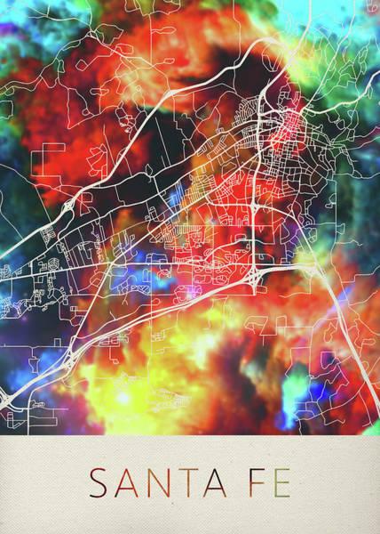 Santa Mixed Media - Santa Fe New Mexico Watercolor City Street Map by Design Turnpike