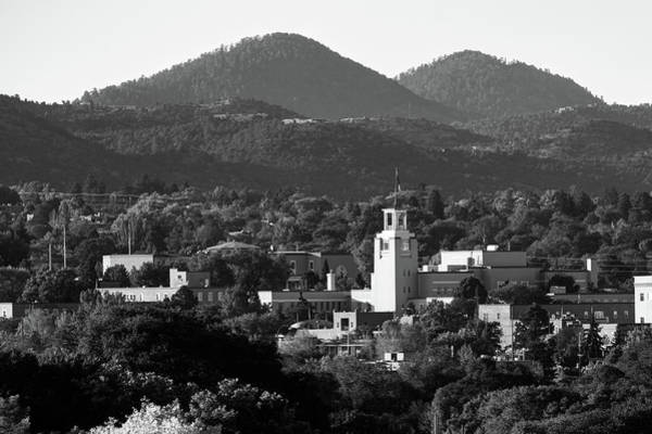 Photograph - Santa Fe Skyline And Mountain Landscape - Monochrome by Gregory Ballos