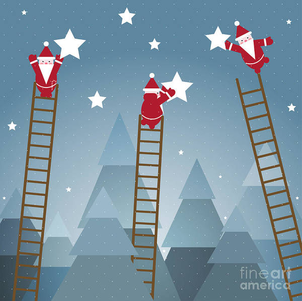 Wall Art - Digital Art - Santa Hanging Stars And Christmas by Popmarleo