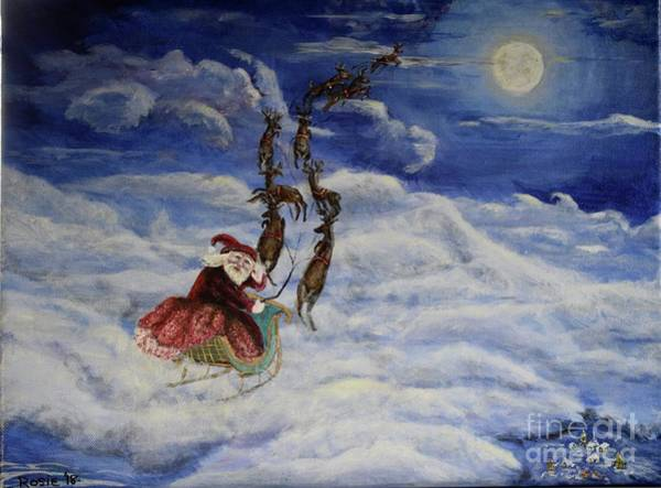 Wall Art - Painting - Santa Is On His Way by Rosie Kuhn