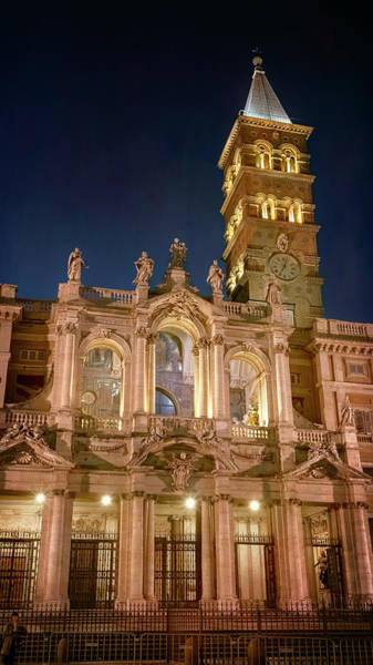 Photograph - Santa Maria Maggiore Basilica Rome Italy Night by Joan Carroll