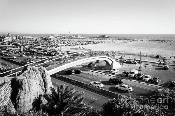 Wall Art - Photograph - Santa Monica Beach Bridge And Pier Black And White Photo by Paul Velgos